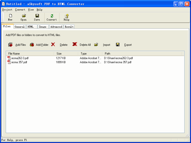 aSkysoft PDF to HTML Converter Screenshot 1