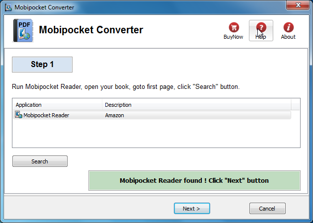 Mobipocket Converter Screenshot 1