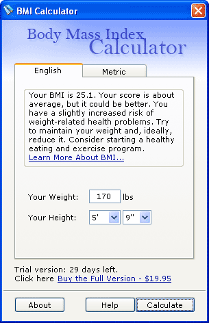 Body Mass Index Counter Screenshot 1