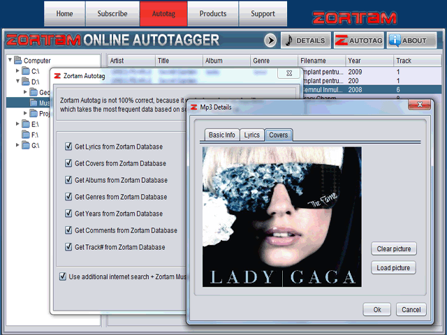 Zortam Online Autotagger Screenshot
