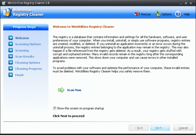 WinUtilities Free Registry Cleaner Screenshot