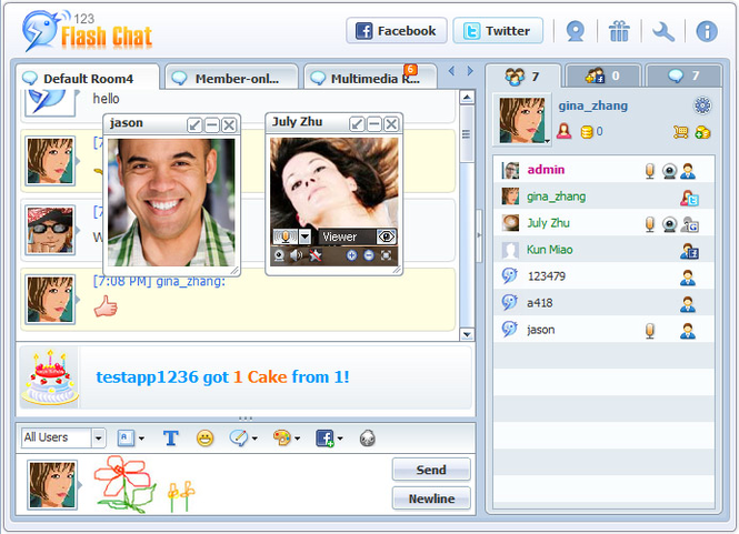 123 Flash Chat Server Software Screenshot 1