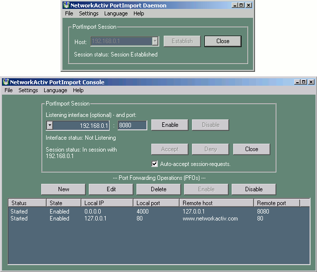 NetworkActiv PortImport Screenshot