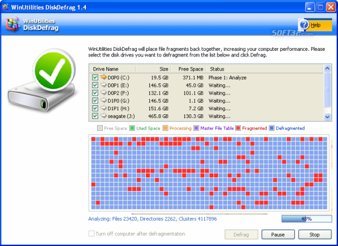 WinUtilities Free Disk Defragmenter Screenshot 4