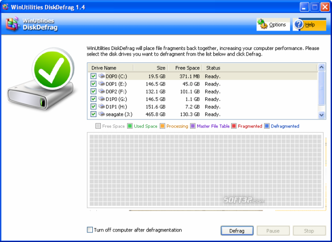 WinUtilities Free Disk Defragmenter Screenshot 3