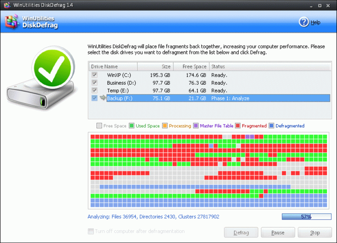 WinUtilities Free Disk Defragmenter Screenshot 1