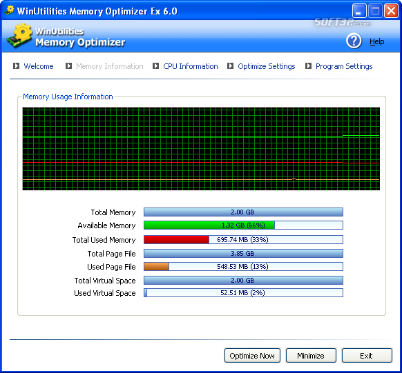 WinUtilities Free Memory Optimizer Screenshot 4