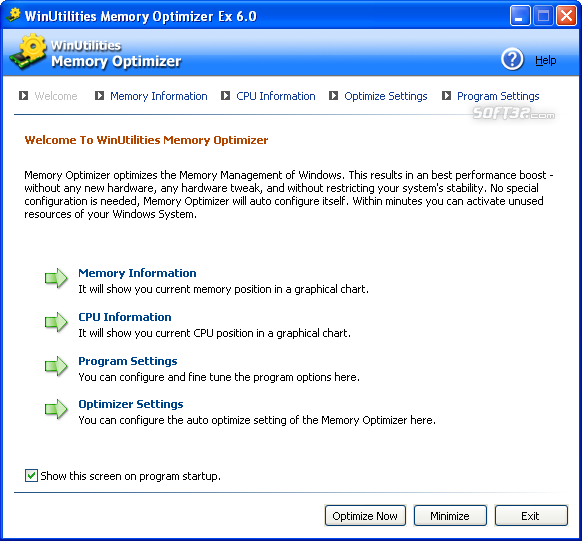 WinUtilities Free Memory Optimizer Screenshot 3