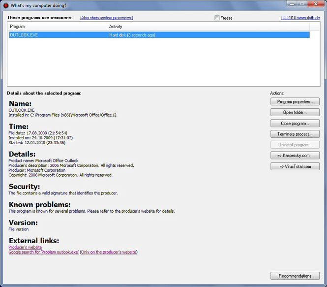 Whats my computer doing? Screenshot 1