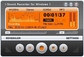 i-Sound Recorder for Windows 7 Screenshot
