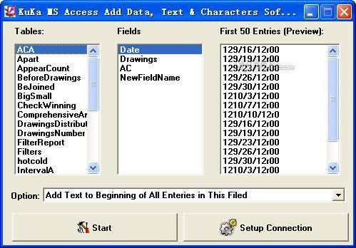 Kuka MS Access Add Data Text Characters Screenshot