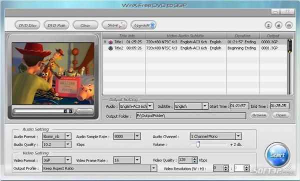 WinX Free DVD to 3GP Ripper Screenshot 2