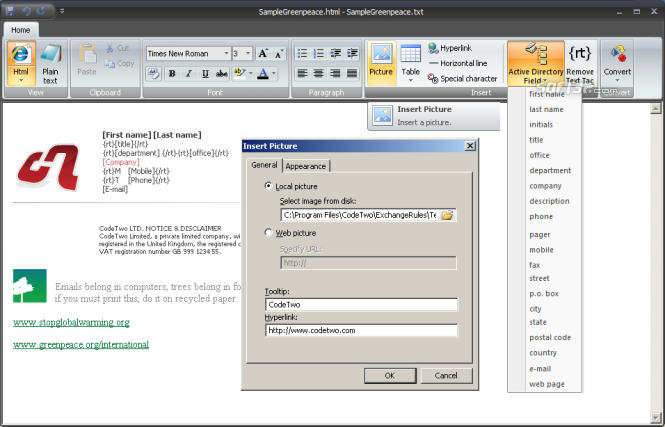 CodeTwo Exchange Rules 2010 Screenshot 2