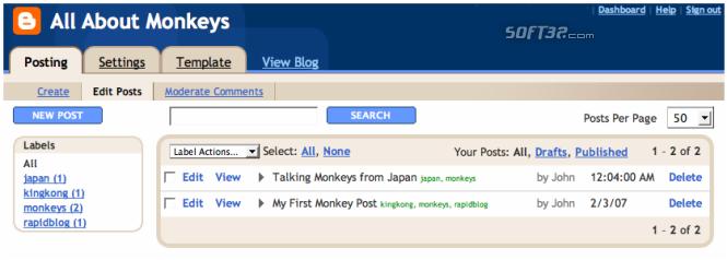 RapidBlog Screenshot 1