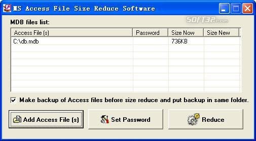 kuka MS Access File Size Reduce Software Screenshot