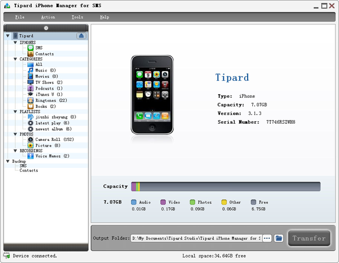 Tipard iPhone Manager for SMS Screenshot