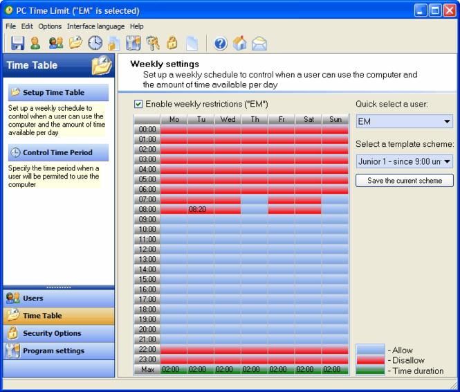PC TIME LIMIT PRO Screenshot