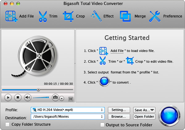 Bigasoft Total Video Converter for Mac Screenshot 2