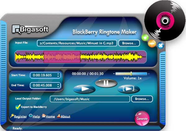 Bigasoft BlackBerry Ringtone Maker for Mac Screenshot