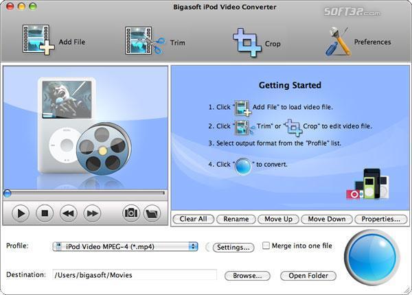 Bigasoft iPod Video Converter for Mac Screenshot 2