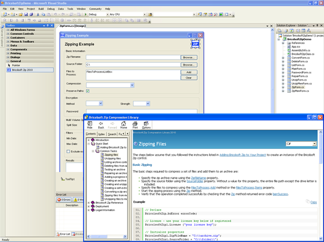 Bricolsoft Zip ActiveX Control Screenshot