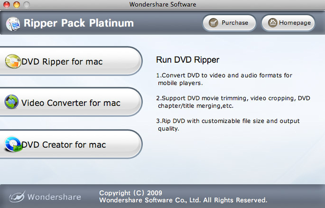 Wondershare Ripper Pack Platinum for Mac Screenshot
