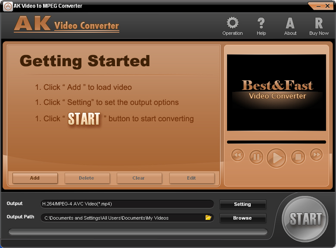 AK Video to MPEG Converter Screenshot