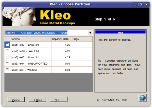 Kleo Bare Metal Backups for Servers Screenshot