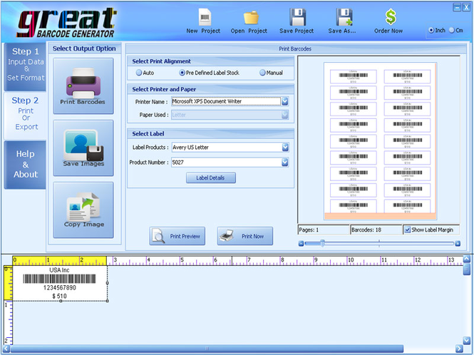 Barcode Creating Software Screenshot
