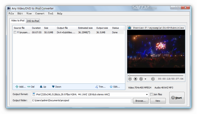 Any Video/DVD to iPod Converter Screenshot 3
