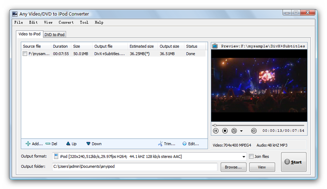 Any Video/DVD to iPod Converter Screenshot 1
