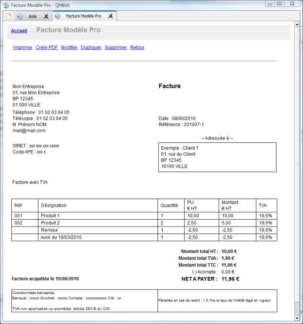 Logiciel Facture Modele Pro Screenshot
