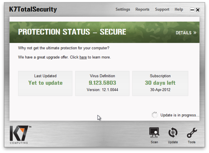 K7 TotalSecurity Screenshot 2