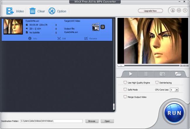 WinX Free AVI to MP4 Converter Screenshot 4