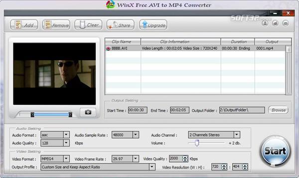 WinX Free AVI to MP4 Converter Screenshot 2