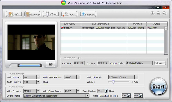 WinX Free AVI to MP4 Converter Screenshot