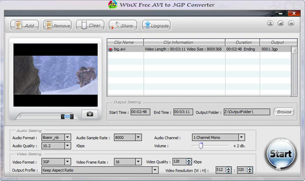 WinX Free AVI to 3GP Converter Screenshot