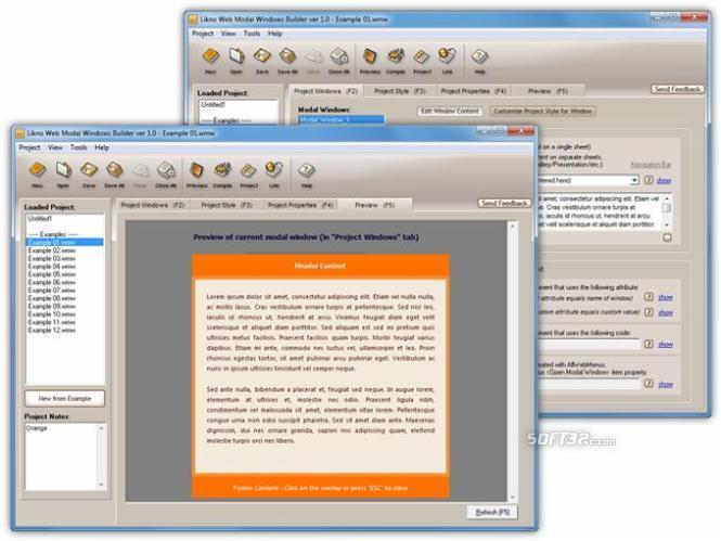 AllWebMenus Web Modal Windows Addin Screenshot 2