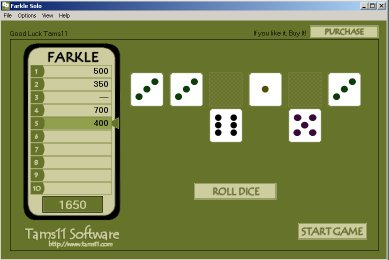 Tams11 Farkle Solo Screenshot