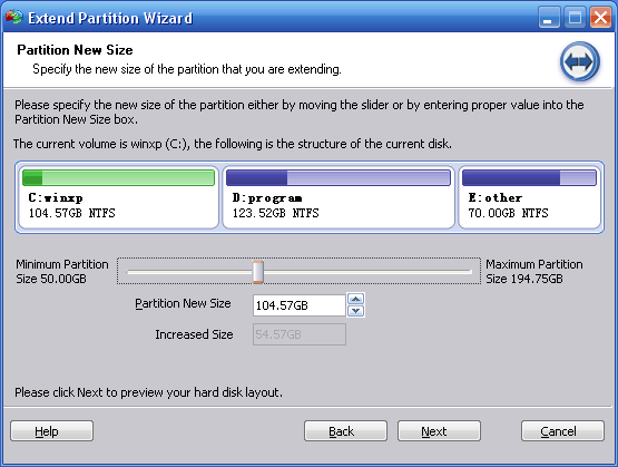 Extend Partition Home Edition Screenshot