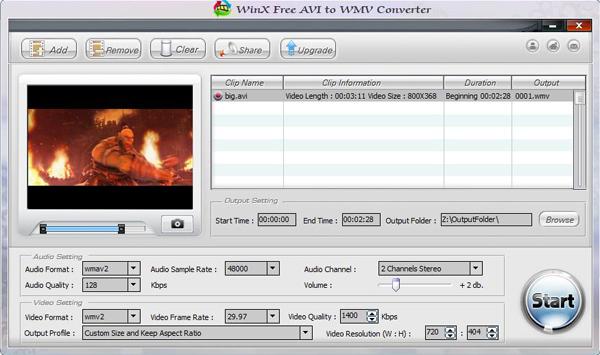 WinX Free AVI to WMV Video Converter Screenshot