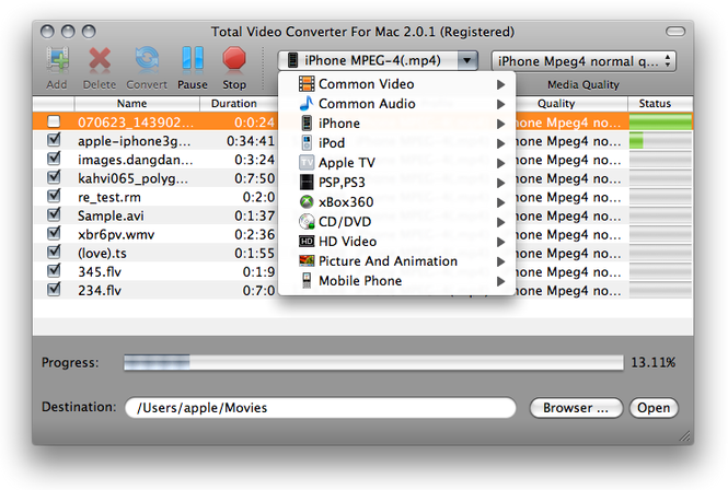 Total Video Converter For Mac Screenshot