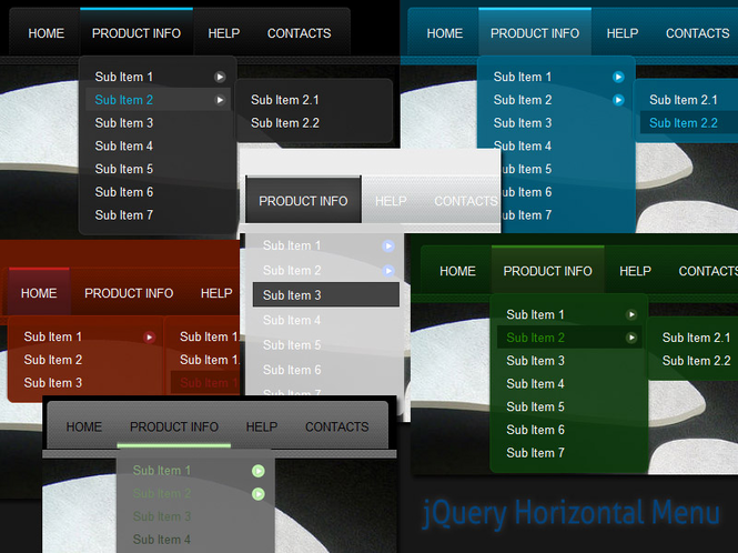 jQuery Horizontal Menu Style 05 Screenshot
