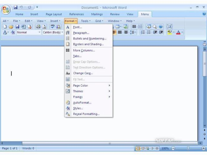 Office 2007 Ribbon to Classic Toolbar and Menu of Microsoft Office 2003 Screenshot 2