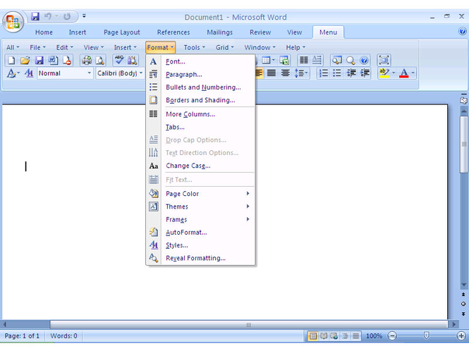 Office 2007 Ribbon to Classic Toolbar and Menu of Microsoft Office 2003 Screenshot