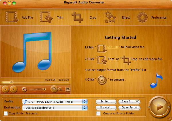 Bigasoft Audio Converter for Mac Screenshot