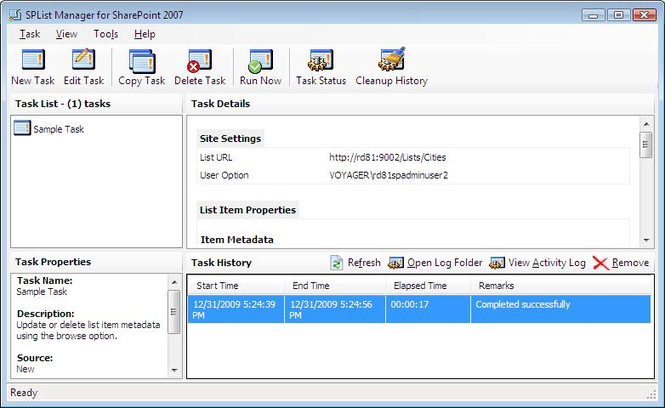 SPList Manager for SharePoint 2007 Screenshot