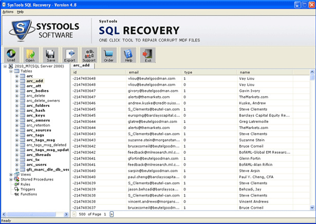 SQL Database Repair Software Screenshot