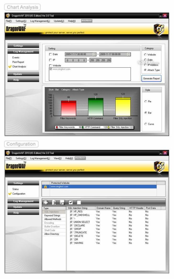 DragonWAF 2010 Free Trial Screenshot 2