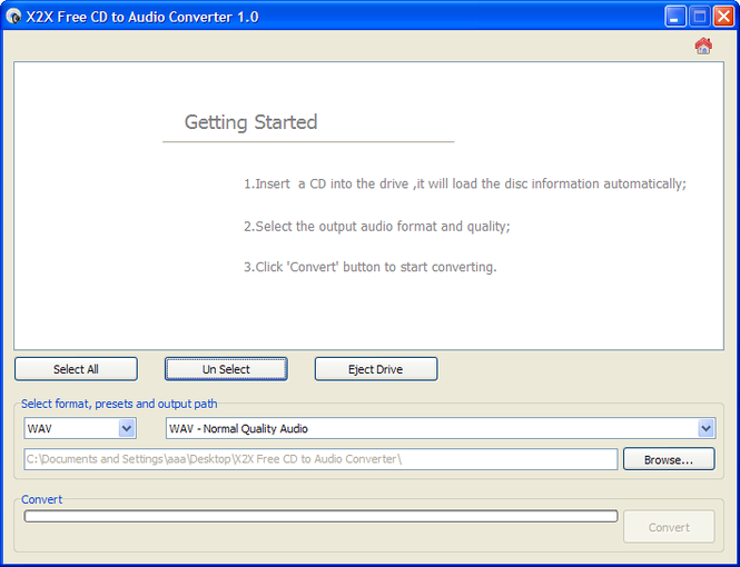 X2X Free CD to Audio Converter Screenshot 1